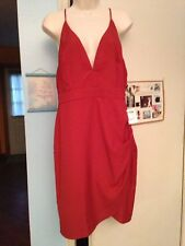 Junior's NWT Charlotte Russe V-Neck Rust Dress With Side Ruching & Straps in XL