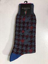 NWT Bugatchi Gray/Maroon Houndstooth Cotton Seamless Socks OS 8.5-12.5 Italy
