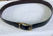Mens Black To Brown Italian Patent Leather Belt Yellow Goldtone Buckle Italy 34
