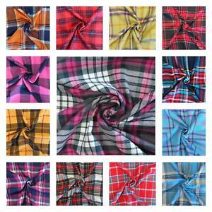 100% Brushed Cotton Fabric Checks Tartan Flannel Winceyette Soft 150cm Wide
