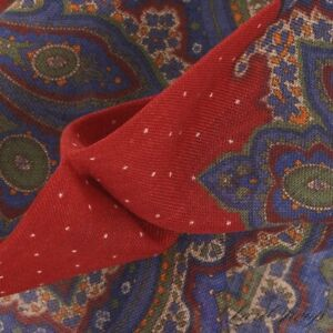 NWOT Made in Italy Silk Wool Ruby Red Spotted Gauzy Maxi Paisley Pocket Square