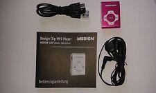 MEDION Aluminium Design Clip-MP3-Player E60011 / PINK mit Ohrhörer NEU !