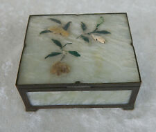 CHINESE ANTIQUE CELADON JADE & BRASS TRINKET JEWELRY BOX CARVED APPLIED FLOWERS