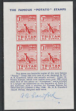 Tristan 2468 - Potato Essay sheet signed by A B Crawford