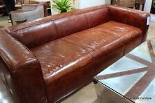 "102"" Sofa Vintage cigar brown soft Italian leather beautiful modern luxurious"