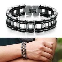 Men's Silver Stainless Steel Black Rubber Motorcycle Biker Chain Link Bracelet
