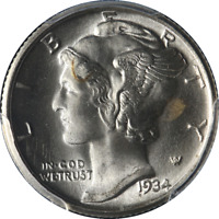1934-P Mercury Dime PCGS MS65FB Blazing White Gem Strong Bands Strong Strike