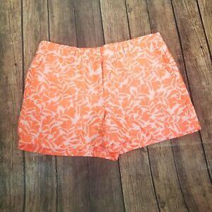 New Ann Taylor Loft Neon Orange Leaf Print Pockets Casual Dress Shorts Size 4