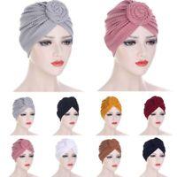Indian Muslim Women Hijab Knot Turban Hats Cancer Chemo Cap Hair Head Scarf Wrap