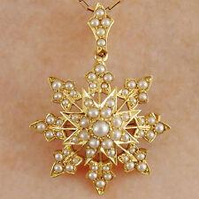 Stunning Antique Victorian 18ct Gold Pearl set Star Motif Pendant Brooch c1895