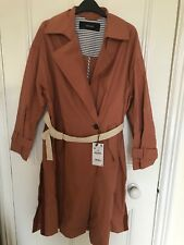 Zara Trench Coat with contrasting Belt Brick Size M 8074/026