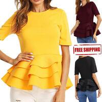 2019 Summer Women Short Sleeve Vintage Layered Ruffle Hem Fit Blouse T Shirt Top