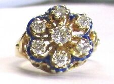 14k Yellow Gold w/Enamel Diamond Cocktail Ring .85ct tw Size 6