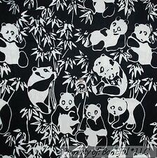 BonEful Fabric FQ Cotton Quilt Black White B&W Batik PANDA Bear Palm Tree Animal
