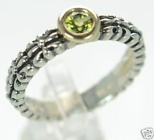 Solid 925 Sterling Silver Genuine Peridot Band Ring Size-5 '