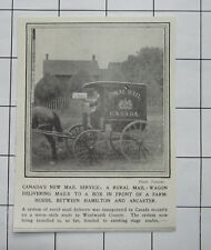 CANADA'S New Royal Mail Service Rural Mail Horse & Wagon 1909 News Clipping