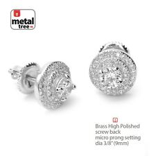 Men's Bling Iced CZ Silver Plated Round Screw Back Stud Earrings SE 11836 S