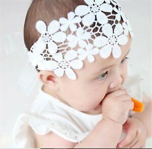 Girl Kid Baby Shower Party White Flower Crochet Lace hair band Headband Bandana
