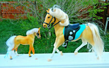 Grand Champions Vintage Horse Toy Lot of 2~Palominos Foal & English Saddle