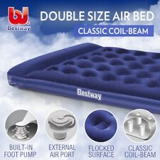 Bestway Double Inflatable Mattress Bed Built-in Pillow Air Pump Flocked Camping