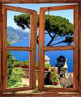Papier peint fenêtre trompe l'oeil déco Vue sur mer réf 753