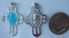 Antique Vintage Catholic Sacred Heart Scapular Medal Blue enamel