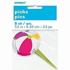 Unique 8 Count Beach Ball Toothpicks Multicolor