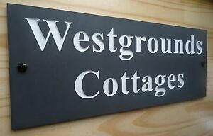 HIGH QUALITY Deep Engraved Natural Honed Slate House Name Number Signs Plaque