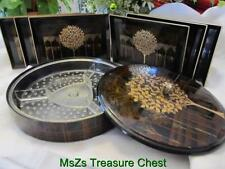 Vintage Otagiri Brown & Gold Tree, Round 3pc Hors'doeuvre Set w Matching trays
