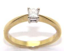 MUJER SEÑORA 18ct 18 Quilates Oro Anillo Compromiso Corte Diamante Princesa