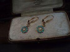Vintage Pearl & Turquoise Blue Crystal  Drop Pierced Earrings
