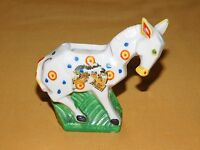 VINTAGE SOUVENIR OF SARATOGA SPRINGS NY CERAMIC HORSE TOOTHPICK HOLDER