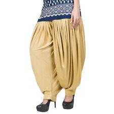 Indian Women Patiala Salwar Lycra Baggy Beige Dance Trouser Dhoti Free Size