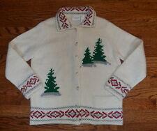 Liz Claiborne Medium M Christmas Tree Alpine Lambswool Angora Cardigan Sweater
