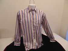 MEN'S AUSTIN REED LONDON RED BLUE ORANGE WHITE STRIPED  L/S SHIRT - Size M - NWT