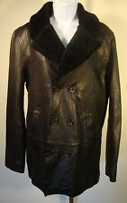 Black Leather Lamb Fur Jacket Coat Blazer Trench 7 For All Mankind Small S EUC