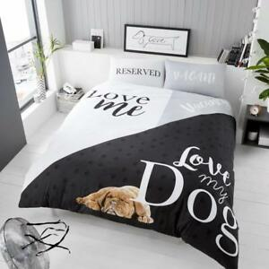 Love My Dog Slogan Duvet Cover with Pillow Case Quilt Cover Double King Bedding