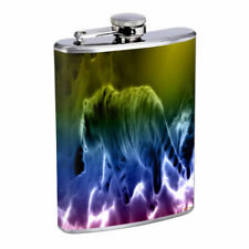 Abstract Rainbow Tiger E1 Flask 8oz Stainless Steel Hip Drinking Whiskey