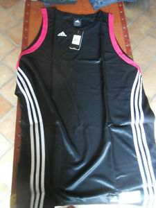 CANOTTA BASKET  maglietta  ADIDAS COLOR NERO/FUCSIA uomo ragazzo  sport tg.3XT *