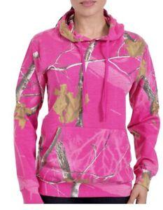 REALTREE Ladies Deep Hot PINK Camo Hoodie Pullover Sweatshirt NWT L Large New