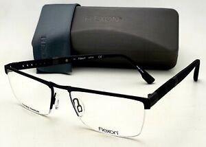 New FLEXON Eyeglasses E1112 033 55-17 Semi Rimless Black Flexible Titanium Frame