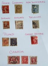Vintage LOT of 62 US & 12 Foriegn Stamps 1895 - 1940s Mostly Used Stamps