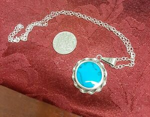 Sterling Silver & Turquoise Pendant & Chain
