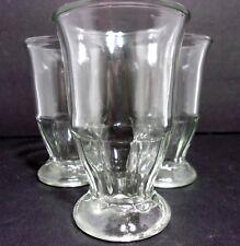 VTG 1960s (3) Ice Cream Parlor Clear Pressed Jelly Jar Orange Juice Glasses