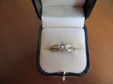 1+ CT Round Cut Engagement Ring band Set Solid 14k Yellow/White  Gold size 8