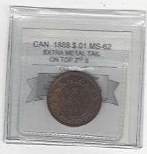 **1888**,Coin Mart Graded Canadian, Large One Cent, **MS-62**Xtra Metal Tail