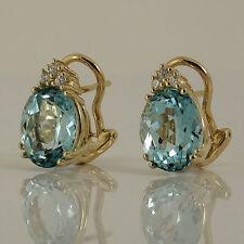 Markenlose Echter Edelsteine-Ohrschmuck aus Gelbgold mit Blautopas für Damen