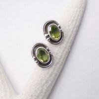 Peridot oval grün Nostalgie Design Ohrringe Ohrstecker 925 Sterling Silber neu