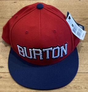 Burton Mens Bato Flexfit snapback cap hat Red/Navy acrylic wool - BNWT