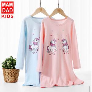 Girls Cotton Princess Nightdress Nightie Pyjamas Long Sleeve Nightwear 3-15 Yr